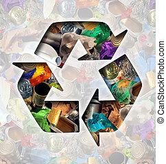 reciclar, basura, concepto