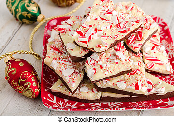 Traditional Holiday Chocolate Peppermint Bark - Snowflake...