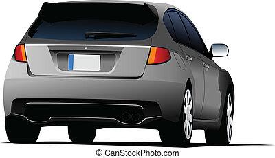 Rear side of gray car sedan on the road. Vector illustration