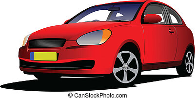 Red car sedan on the road. Vector i