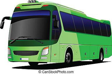verde, turista, autobús, entrenador, vector, il
