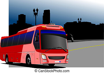 City panorama with tourist bus image. Coach. Vector...