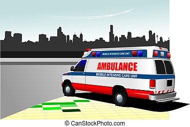 Modern ambulance van on city background. Colored vector...