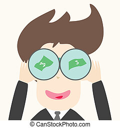 businessmen find money through telescope