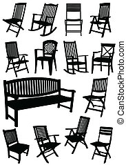 Collection of garden chairs and benches silhouettes. Vector...