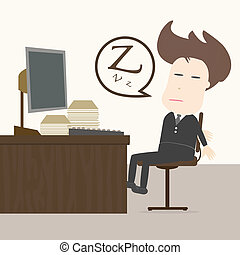 Businessman fall sleep at working place.