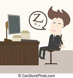 homem negócios, outono, sono