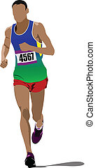 The running man Track and field Vector illustration