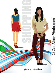 Two cute shopping ladys Vector colored illustration