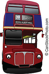London double Decker red bus on Big Ben background Vector...