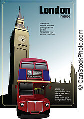 London double Decker red bus on Big Ben background. Vector...