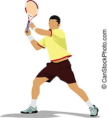 Tennis player.  Colored Vector illu