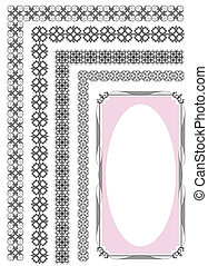 Collection of ornamental floral vintage frame design. All...