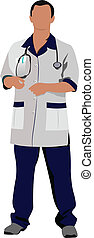 Doctor man with white doctor`s smock. Vector illustration