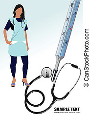 Medical nurse stethoscope and thermometer. Vector...