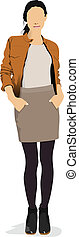 Young girl in brown jacket. Colored Vector illustration