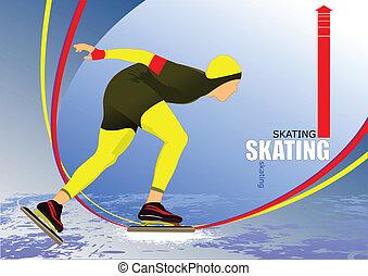 Speed skating poster. Vector illust