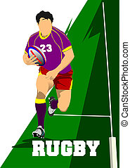Rugby Player Silhouette Vector illustration