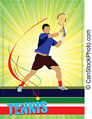 Man tennis player. Colored Vector i