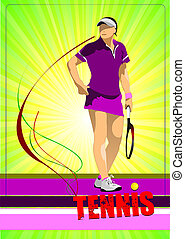 Woman tennis player Colored Vector illustration for...