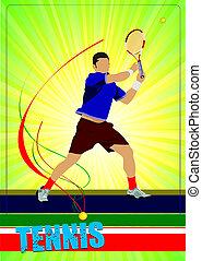 hombre, tenis, jugador, coloreado, vector,...