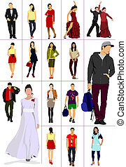 Collection of man and women silhouettes over white...