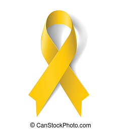 Yellow ribbon - Yellow awareness ribbon on white background...