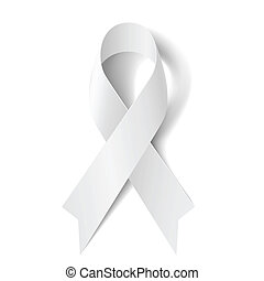 White ribbon - White awareness ribbon isolated on white...