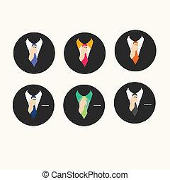 Male clothing suit set,icon set.