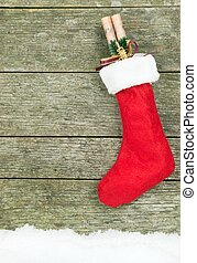 Christmas Stocking - A Christmas stocking hanging on a...