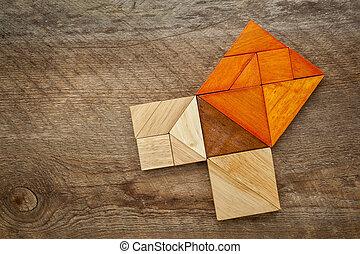 Quebra-cabeça,  tangram,  Pythagorean, Teorema