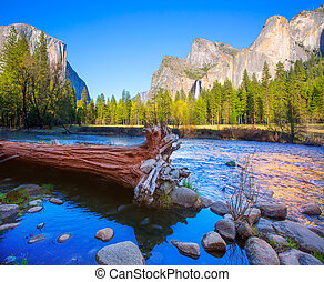 Yosemite Merced River el Capitan and Half Dome in California...