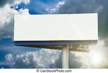 Blank street billboard on cloudy sky