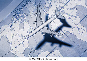 Airplane above the map in blue