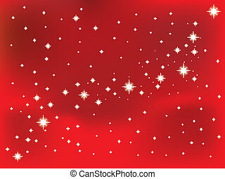 Shining star on a red vector background.