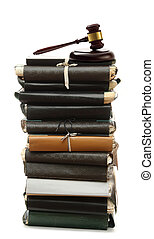 Paper folders and gavel - Stack of old paper folders and...