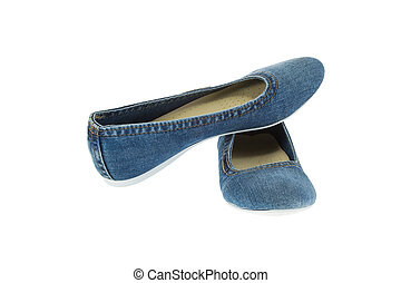 image of blue jeans women fashion slippers - a mage of blue...