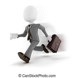 3d man businessman running on white background