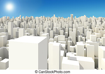 3d big city skyline