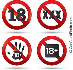 Adults only content button. XXX Vector sticker. Age limit...