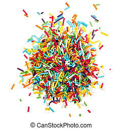 decorating colored sugar sprinkles isolated on white...