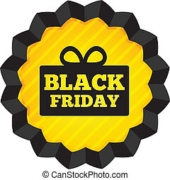 Black Friday Sale label with gift box on white. - Black...