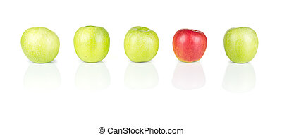 Red and Green Apples - 01 - Line of green apples and one red...