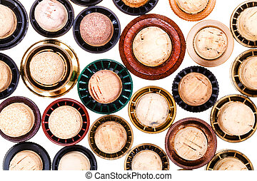 top view of many corks from beverages isolated on white...
