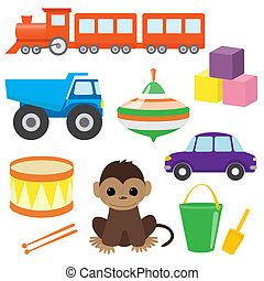 Set of vector toys 2 - Collection of colorful children's...