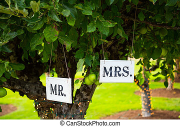 Mr and Mrs Signs at Wedding - Signs read Mr and Mrs or Mr...