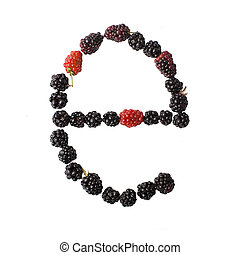 Letter E made up of blackberries