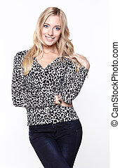 Beautiful blond woman in an animal print blouse