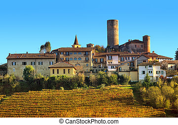 Small town and vineyards on the hill in Italy. - Yellow...