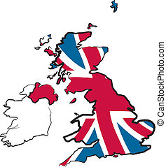 great britain - map and flag - british isles with national...
